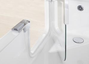 Barrierearm und bequem einsteigen in die Dusch-Badewanne Twinline von Artweger. Die ideale Kombination aus Dusche und Badewanne: Die Glastür erlaubt einen sicheren und bequemen Einstig in Dusche UND Badewanne.