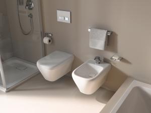 Das wandhängende WC wird durch einen integrierten Sitz zu einer optischen Einheit.
