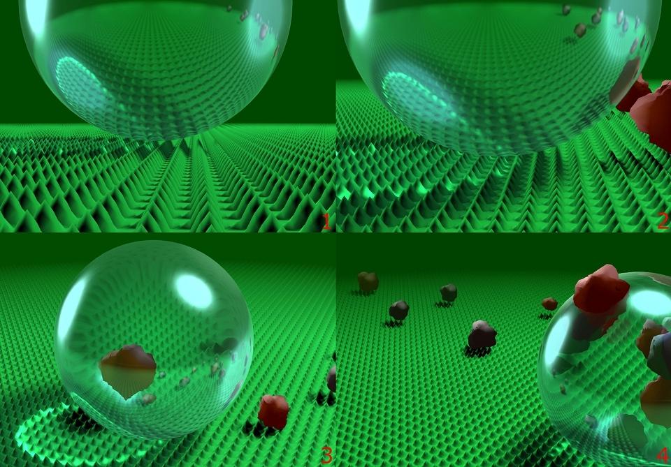 Eine Computersimulation, die das Wirkprinzip von Lotusan mit LotusEffect zeigt