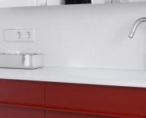 Komfortables Duschbad in rot und weiß