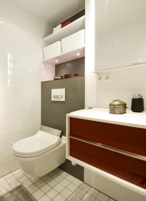 Die Spülauslösung von Geberit passt in Form und Farbe ideal zum Dusch-WC.