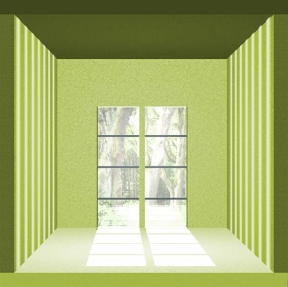 Eine Grafik von der Sto Struktur quer in grün bei der das ein kleineres Raumgefühl herrscht